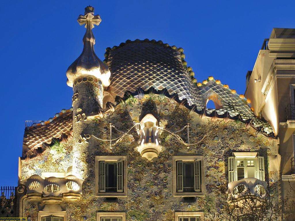 Barcelona Casa Batllo am Passeig de Gracia erbaut von Antoni Gaudi 1904-1906
