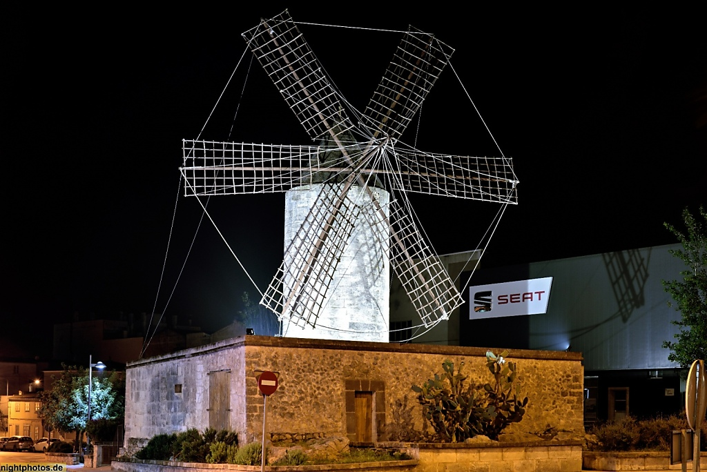 Mallorca Manacor Muehle 'Molí d'en Polit' erbaut im 19 Jahrhundert