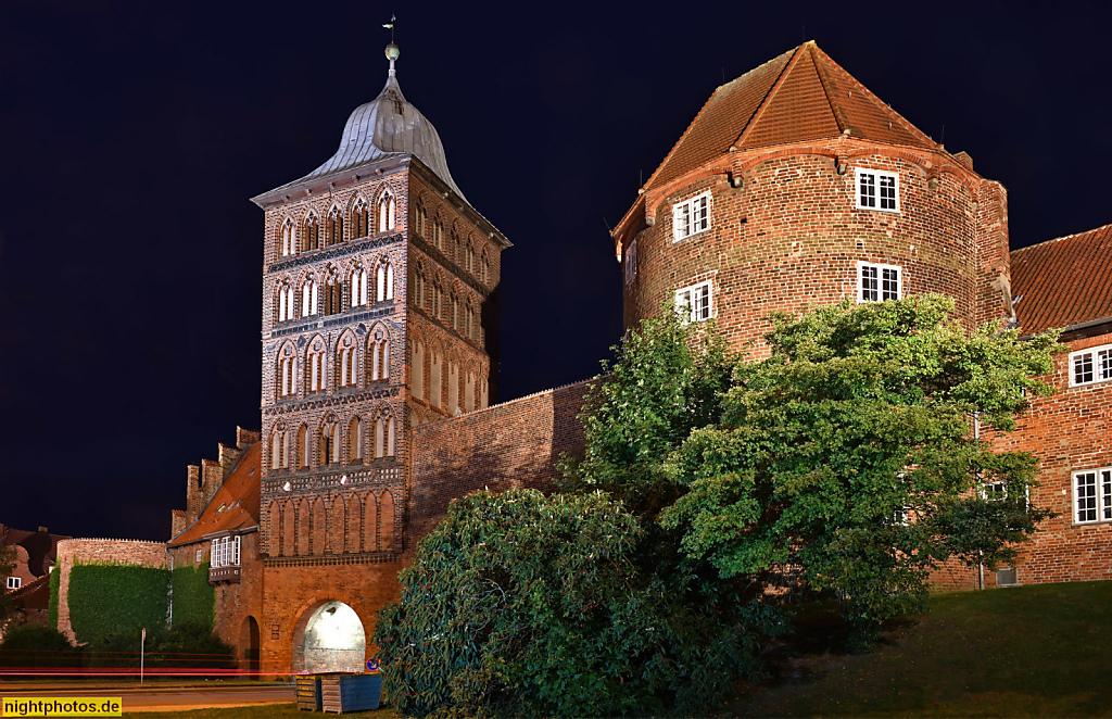 Lübeck Burgtor erbaut 1444 vom Stadtbaumeister Nicolas Peck. Teil der Lübecker Burg. Ansicht von Norden